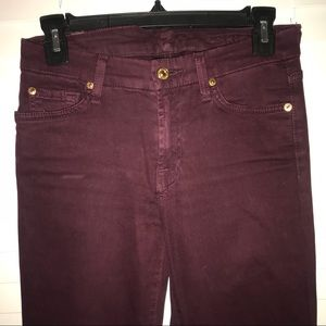 """7FAM """"The Skinny"""" wine colored velvet jeans"""